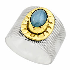 925 silver 2.10cts victorian natural blue aquamarine two tone ring size 9 r18452