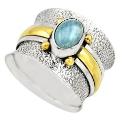 925 silver 2.27cts victorian natural aquamarine two tone ring size 8.5 r18455
