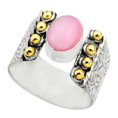 4.52cts victorian natural pink opal 925 silver two tone ring size 7.5 r18462