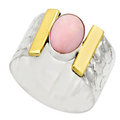 4.38cts victorian natural pink opal 925 silver two tone ring size 7.5 r18466