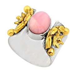 925 silver 4.13cts victorian natural pink opal round two tone ring size 8 r18476