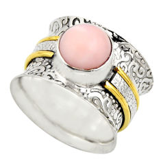 3.13cts victorian natural pink opal 925 silver two tone ring size 6.5 r18477