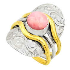 3.24cts victorian natural pink opal 925 silver two tone ring size 8.5 r18478