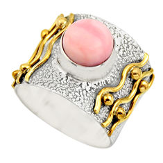 3.28cts victorian natural pink opal 925 silver two tone ring size 7 r18479