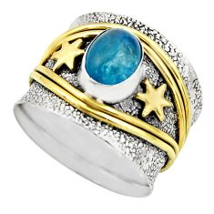 2.26cts victorian natural blue apatite 925 silver two tone ring size 6.5 r18483