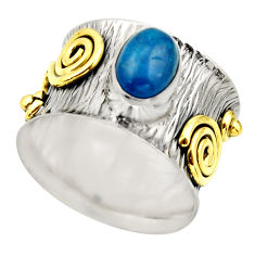 2.11cts victorian natural blue apatite 925 silver two tone ring size 7 r18485