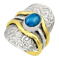 2.01cts victorian natural blue apatite 925 silver two tone ring size 7.5 r18486