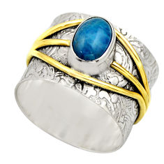 2.11cts victorian natural blue apatite 925 silver two tone ring size 8 r18487