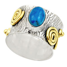 925 silver 2.36cts victorian natural blue apatite two tone ring size 6.5 r18488