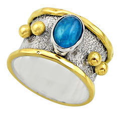 2.19cts victorian natural blue apatite 925 silver two tone ring size 7 r18492