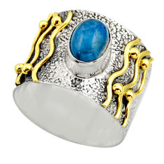 925 silver 2.28cts victorian natural blue apatite two tone ring size 9.5 r18493