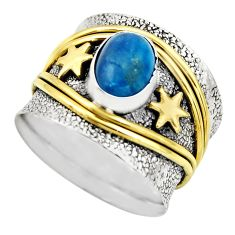2.19cts victorian natural blue apatite 925 silver two tone ring size 6.5 r18495