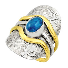 925 silver 2.00cts victorian natural blue apatite two tone ring size 7.5 r18497