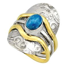 2.07cts victorian natural blue apatite 925 silver two tone ring size 9 r18499