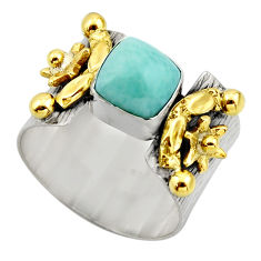 925 silver 3.27cts victorian natural blue larimar two tone ring size 9 r18504