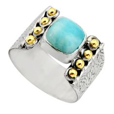 3.16cts victorian natural blue larimar 925 silver two tone ring size 9.5 r18505