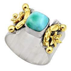 3.16cts victorian natural blue larimar 925 silver two tone ring size 9 r18506