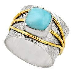 925 silver 3.23cts victorian natural blue larimar two tone ring size 8 r18507
