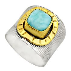 3.41cts victorian natural blue larimar 925 silver two tone ring size 7 r18509