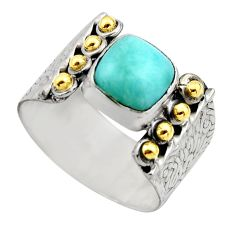 925 silver 3.16cts victorian natural blue larimar two tone ring size 9 r18510