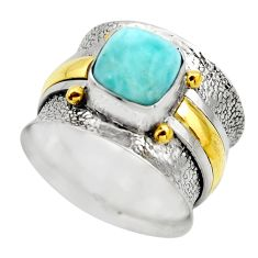 3.35cts victorian natural blue larimar 925 silver two tone ring size 7.5 r18512