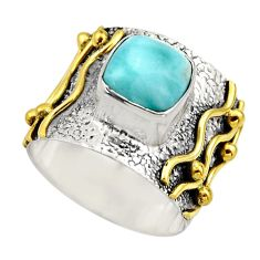 3.01cts victorian natural blue larimar 925 silver two tone ring size 6.5 r18515