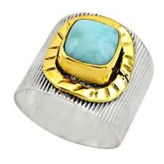 3.29cts victorian natural blue larimar 925 silver two tone ring size 7 r18516