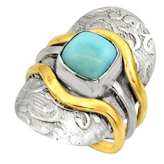 3.44cts victorian natural blue larimar 925 silver two tone ring size 6.5 r18517