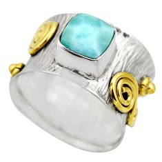 925 silver 3.16cts victorian natural blue larimar two tone ring size 9 r18518