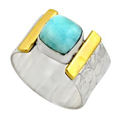 3.41cts victorian natural blue larimar 925 silver two tone ring size 8.5 r18520