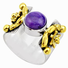 3.34cts victorian natural purple charoite 925 silver two tone ring size 8 r18539