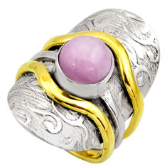 3.10cts victorian natural pink kunzite 925 silver two tone ring size 6.5 r18541
