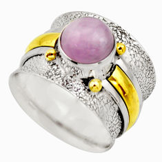 3.16cts victorian natural pink kunzite 925 silver two tone ring size 7 r18542