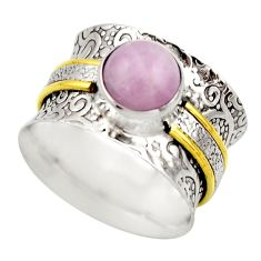 925 silver 3.16cts victorian natural pink kunzite two tone ring size 8.5 r18544
