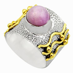 3.29cts victorian natural pink kunzite 925 silver two tone ring size 7 r18551
