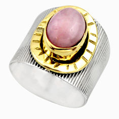 4.71cts victorian natural pink kunzite 925 silver two tone ring size 7 r18552