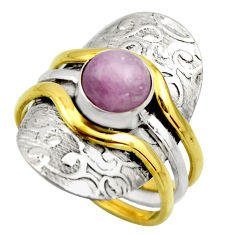 3.26cts victorian natural pink kunzite 925 silver two tone ring size 10.5 r18553