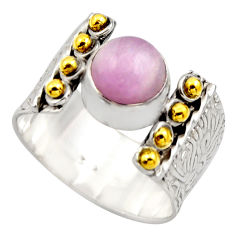 925 silver 3.16cts victorian natural pink kunzite two tone ring size 9.5 r18554
