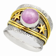 2.99cts victorian natural pink kunzite 925 silver two tone ring size 8.5 r18560