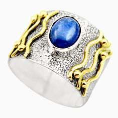 2.20cts victorian natural blue kyanite 925 silver two tone ring size 6 r18566
