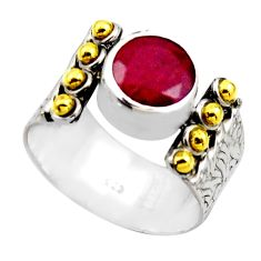 2.35cts victorian natural red ruby 925 silver two tone ring size 8 r18581