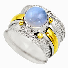 925 silver 3.13cts victorian natural blue lace agate two tone ring size 7 r18584
