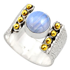 3.04cts victorian natural lace agate 925 silver two tone ring size 8.5 r18585