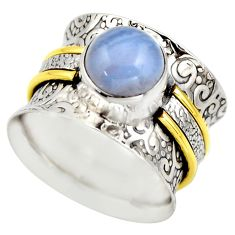 3.35cts victorian natural blue lace agate 925 silver two tone ring size 6 r18586