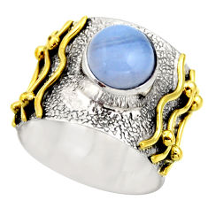 3.29cts victorian natural blue lace agate 925 silver two tone ring size 6 r18588