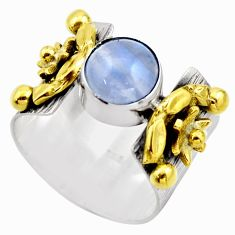 925 silver 3.10cts victorian natural blue lace agate two tone ring size 8 r18589