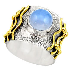 3.29cts victorian natural blue lace agate 925 silver two tone ring size 6 r18590