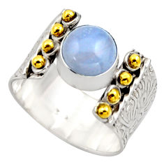 3.01cts victorian natural blue lace agate silver two tone ring size 8.5 r18591