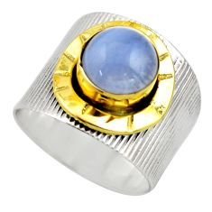 3.29cts victorian natural blue lace agate 925 silver two tone ring size 8 r18593