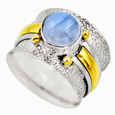 3.31cts victorian natural blue lace agate 925 silver two tone ring size 6 r18594